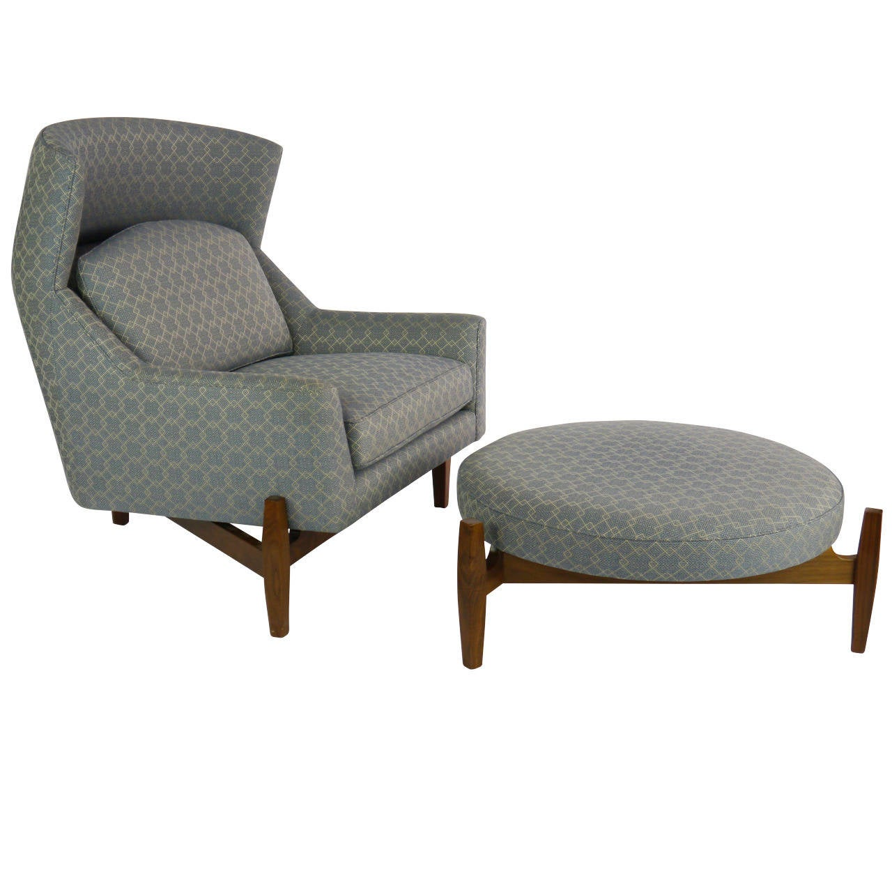 rare jens risom big chair with ottoman at stdibs - rare jens risom big chair with