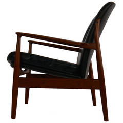 Teak and Leather Lounge Chair by Finn Juhl for France and Daverkosen
