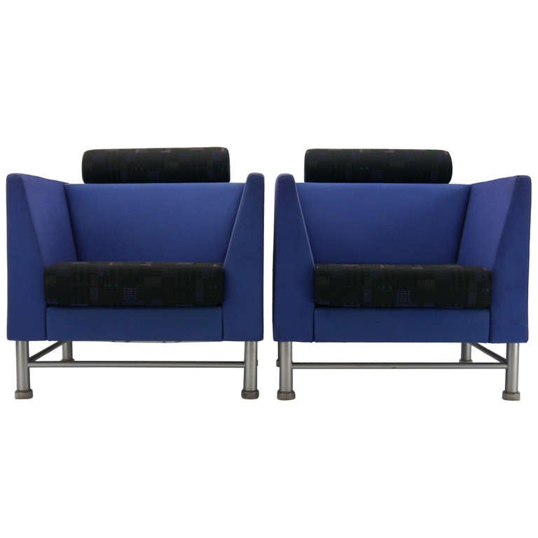Pair Ettore Sottsass Eastside Lounge Chairs For Knoll 1