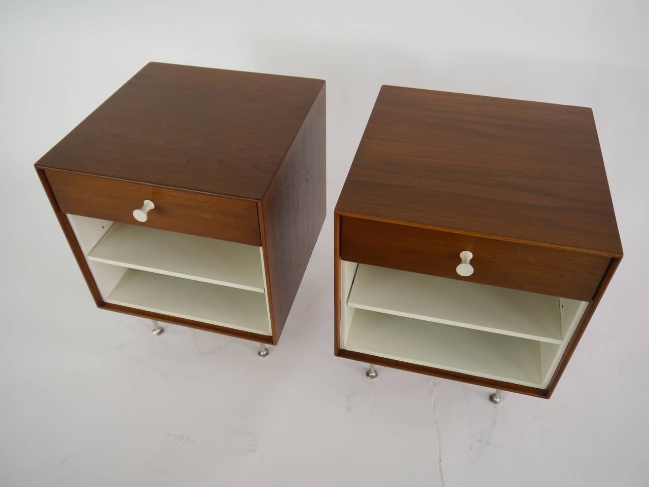 Thin-Edge Nightstands by George Nelson for Herman Miller In Excellent Condition For Sale In Hadley, MA