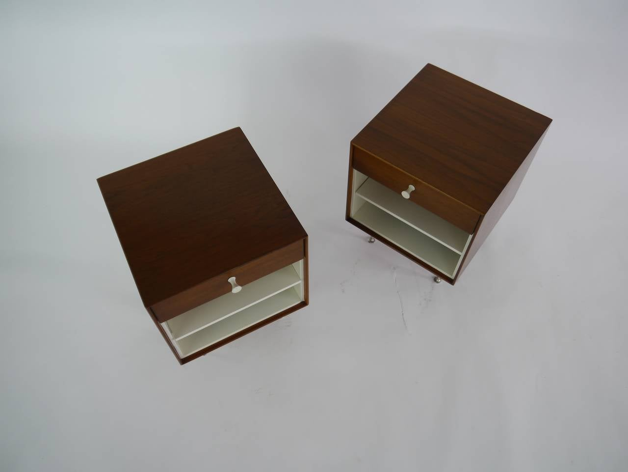 Mahogany Thin-Edge Nightstands by George Nelson for Herman Miller For Sale