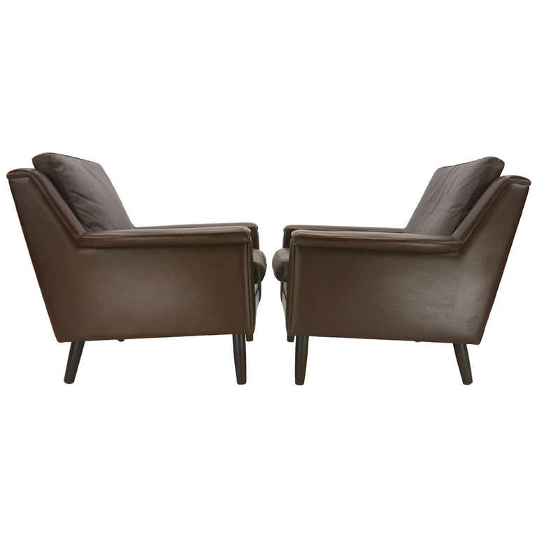 Pair Of Danish Lounge Chairs In Brown Leather