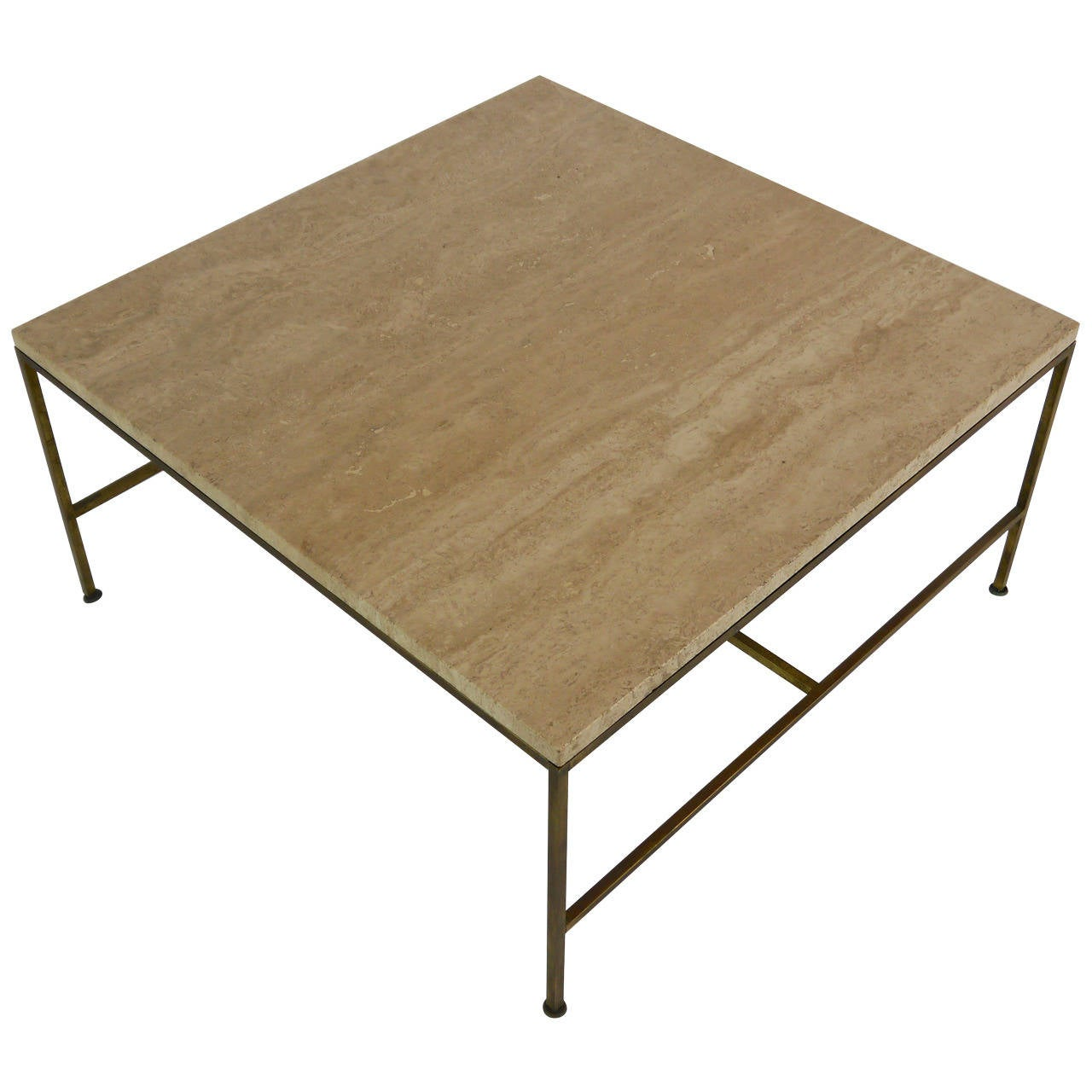 Cocktail Table In Brass And Travertine By Paul McCobb At