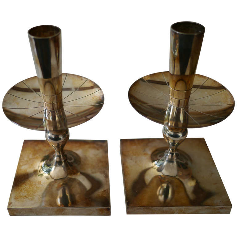 Tommi Parzinger silverplate candlesticks For Sale