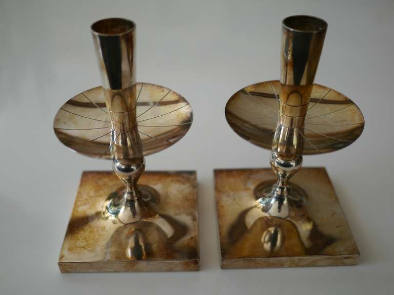 Tommi Parzinger silverplate candlesticks, marked Heirloom 700. Excellent original patina.