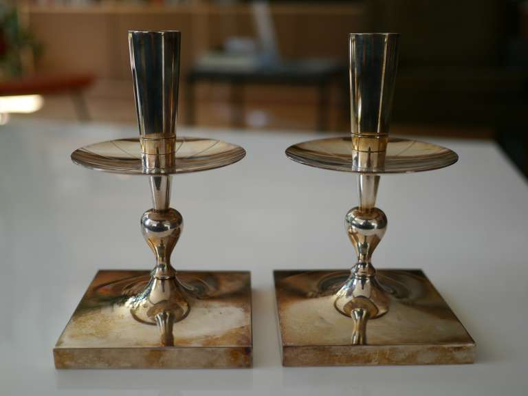 Mid-Century Modern Tommi Parzinger silverplate candlesticks For Sale