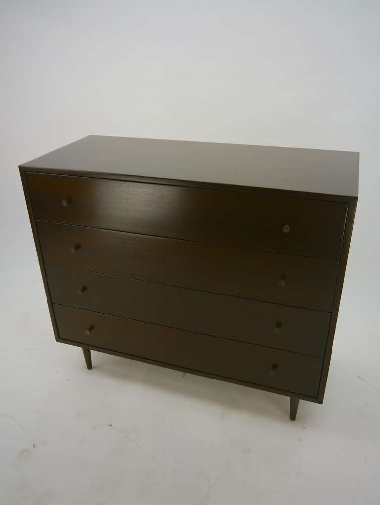 Mahogany and Brass Dresser by Harvey Probber In Excellent Condition For Sale In Hadley, MA