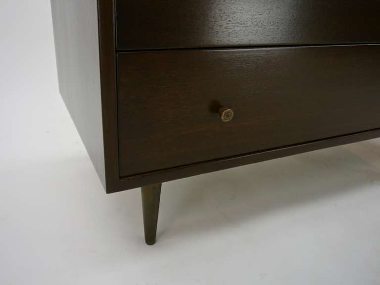 Mahogany and Brass Dresser by Harvey Probber For Sale 1