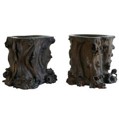 Pair of Exceptional Chinese Zitan Root Scholar's Brush Pots