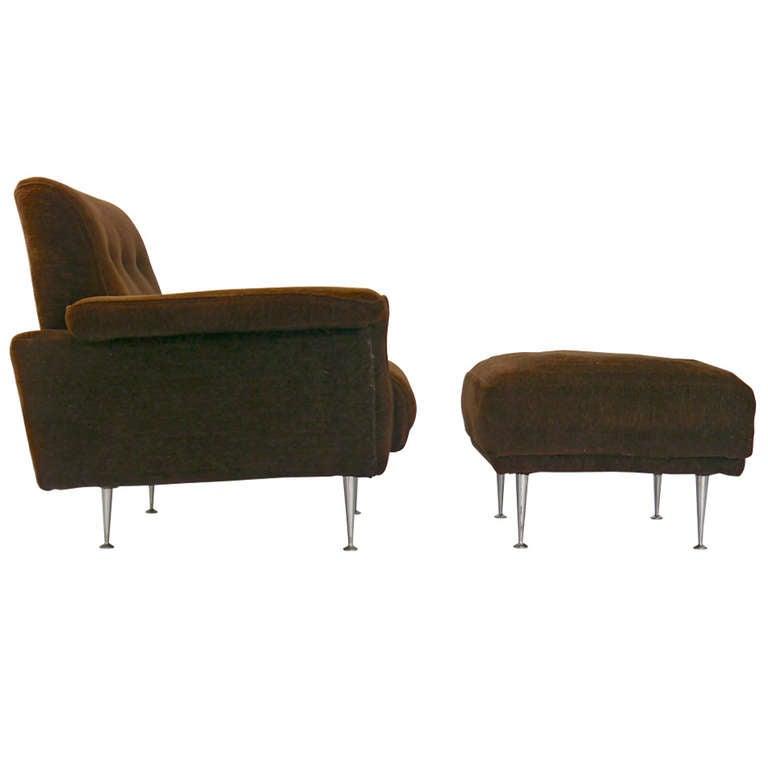 Rare George Nelson Thin Edge Lounge Chair and Ottoman