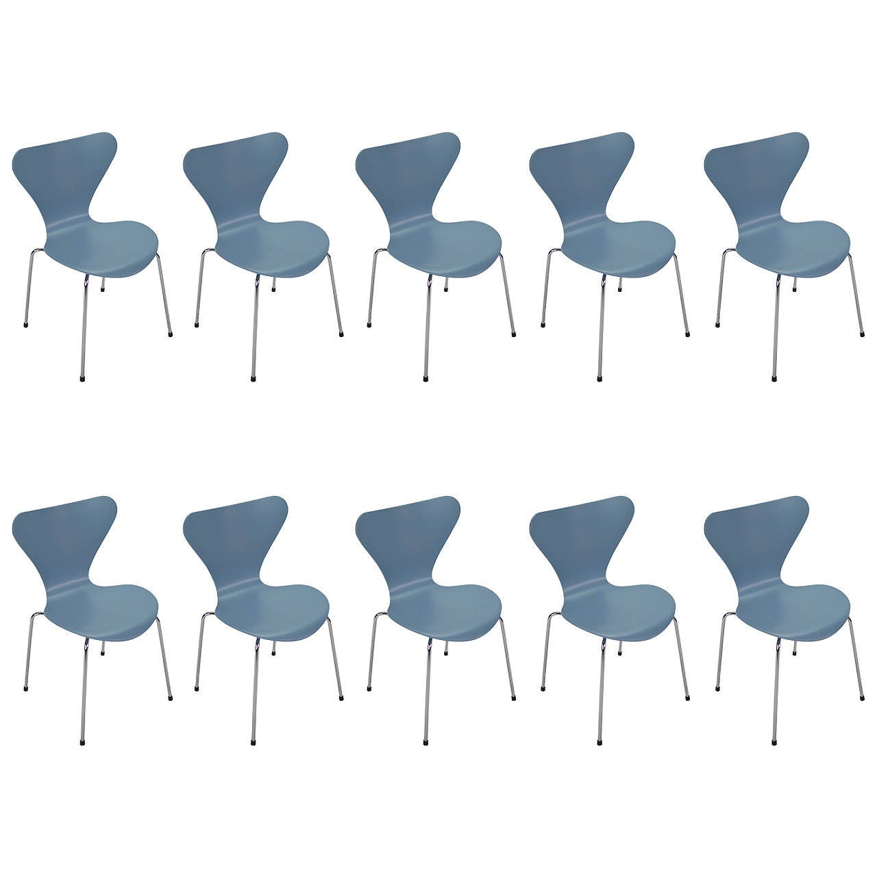 Jacobsen Series 7 Chair Ten Vintage Powder Blue Series 7 Chairs By Arne Jacobsen For Fritz