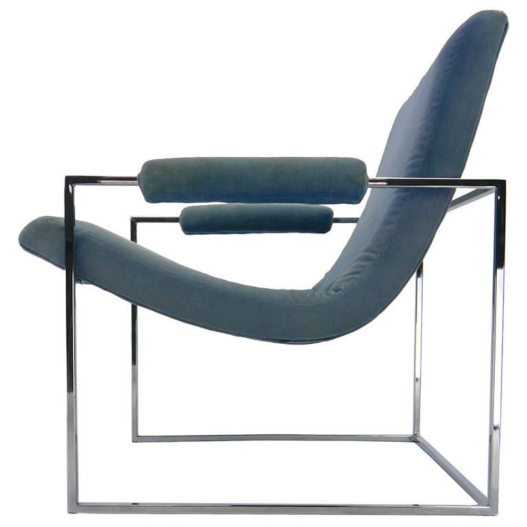 pair of minimalist lounge chairs by milo baughman for