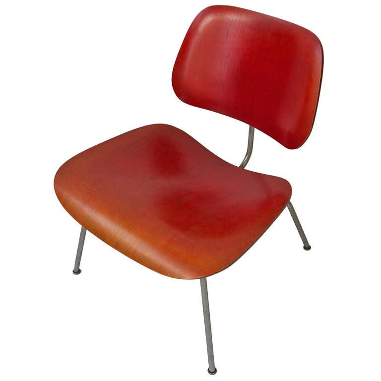 early eames lcm lounge chair in red for sale at 1stdibs
