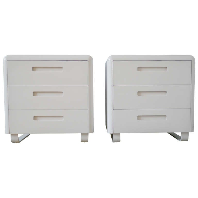 Pair Plymodern Dressers In White Lacquer For Sale