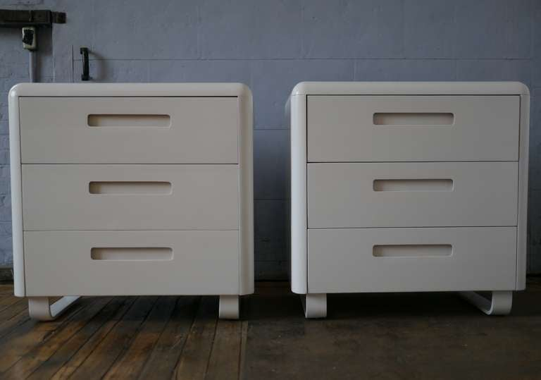 Pair of 3 drawer dressers in white lacquer by Paul Goldman for Plymodern. An interesting use of material and technique, this design was cutting edge in the early 50's. Additional 4 drawer 45