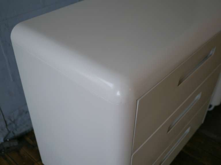 American Pair Plymodern Dressers In White Lacquer For Sale