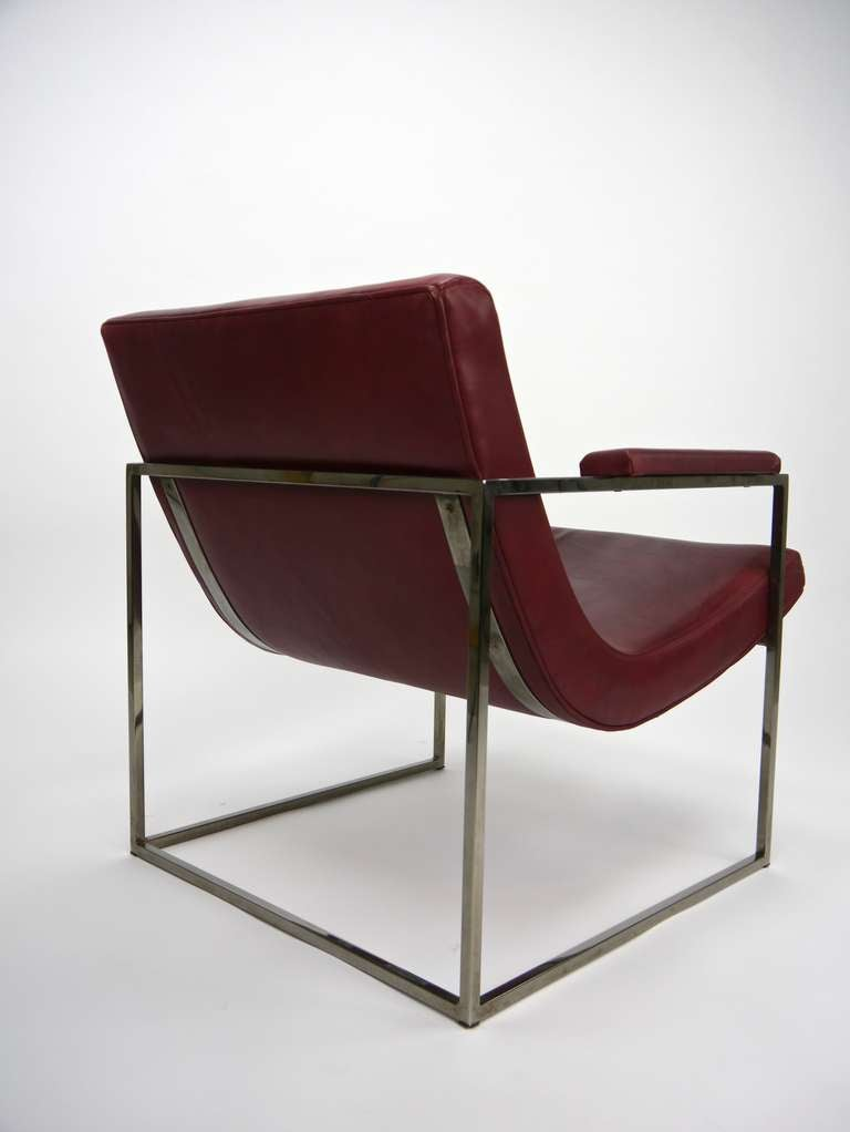 Milo Baughman chrome cube lounge chair in leather at 1stdibs