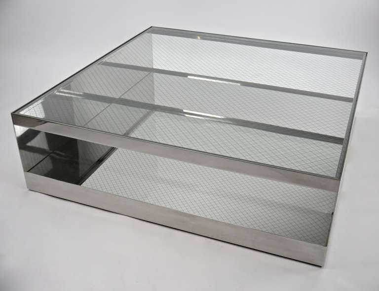 Large Coffee Table In Stainless Steel And Mesh Glass By Joe D Urso