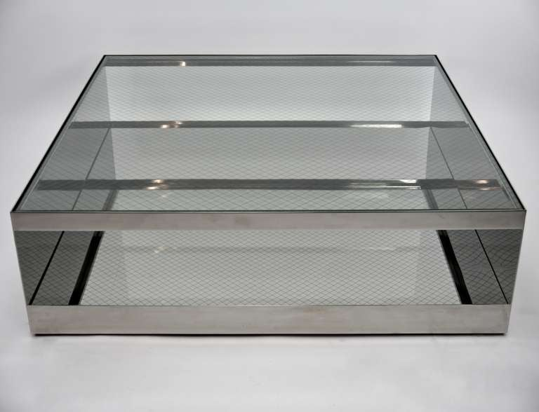 Large coffee table in stainless steel and mesh glass by for Large glass coffee table