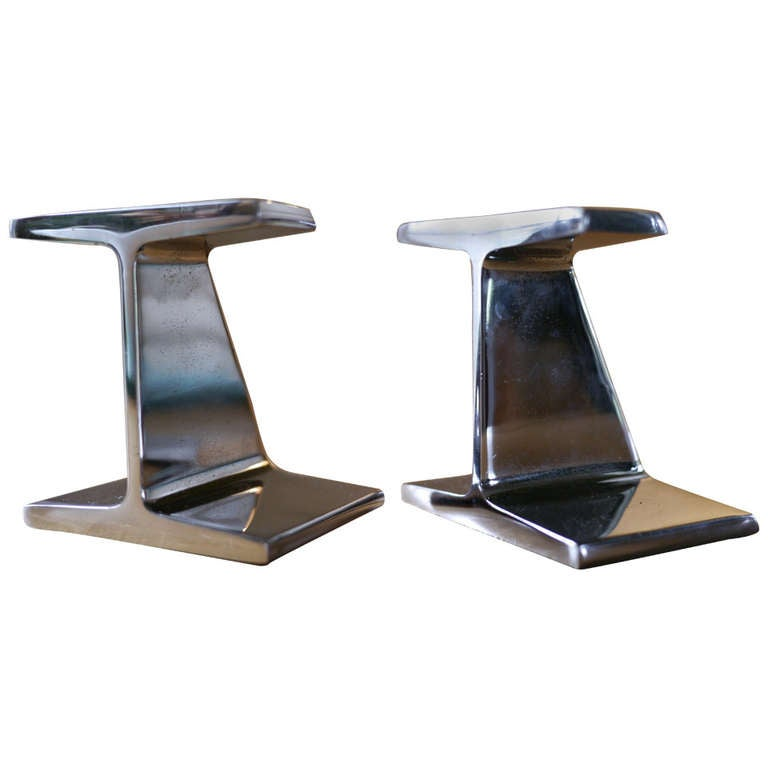Chrome I beam bookends For Sale