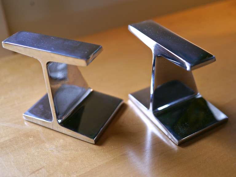 Mid-Century Modern Chrome I beam bookends For Sale