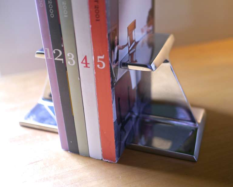 Chrome I beam bookends In Excellent Condition For Sale In Hadley, MA