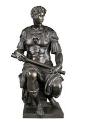 French or Italian Bronze figure of Giuliano de Medici after Michelangelo