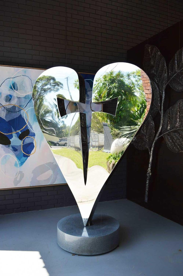 Stainless steel heart and dagger sculpture