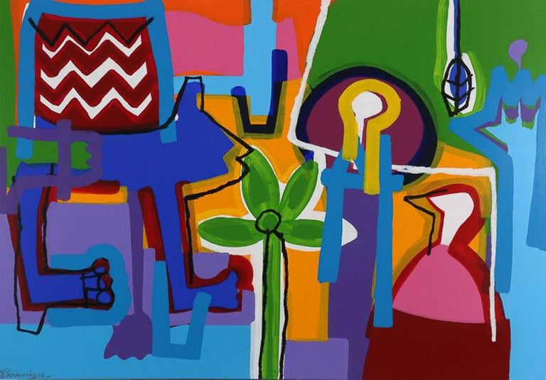 """J. Paramés Abstract Painting - Contemporary Art """"A Joy Filled Day"""" Large Abstract Expressionist Acrilic Canvas"""