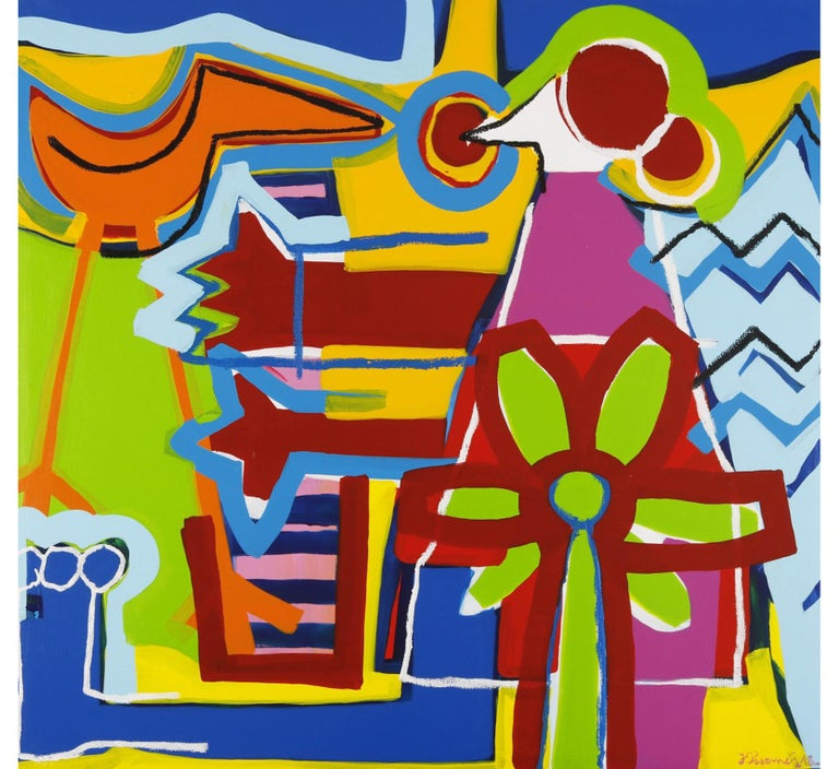 """J. Paramés Abstract Painting - """"The Happy Piano"""" Contemporary Art, Abstract Expressionist Acrylic on Canvas"""