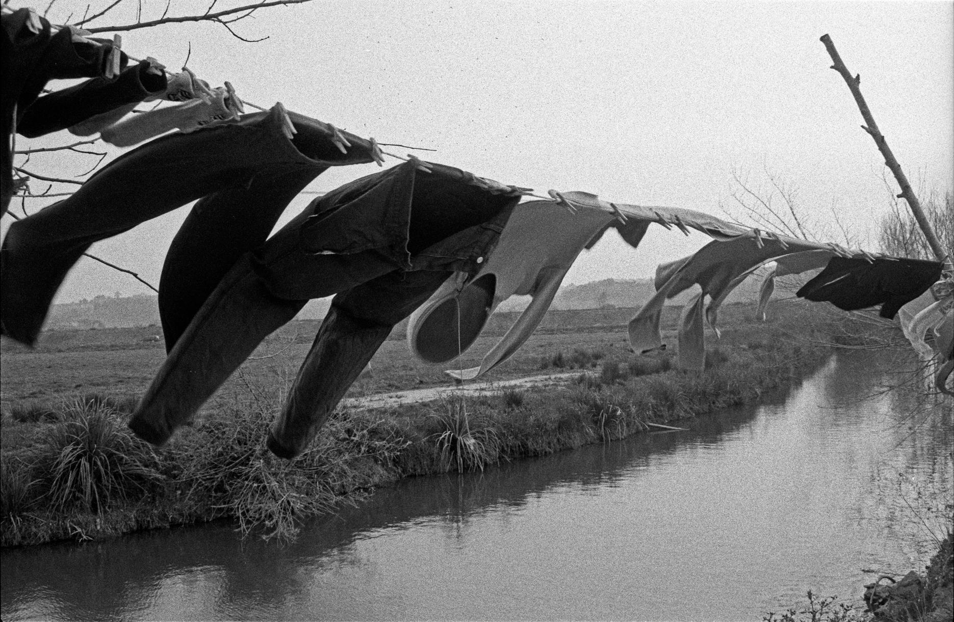 """""""The Clothesline"""" Black & White Photography Signed Gelatin Silver Print Portugal"""