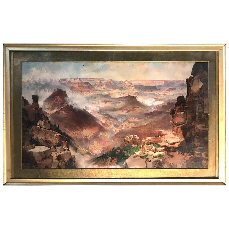 Thomas Moran Chromolithograph Print 1893  of the Grand Canyon
