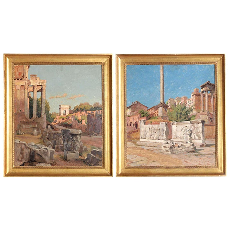 Fine Pair of  Classical Roman Landscape Oil on Canvas Signed P. Baroni, 1920
