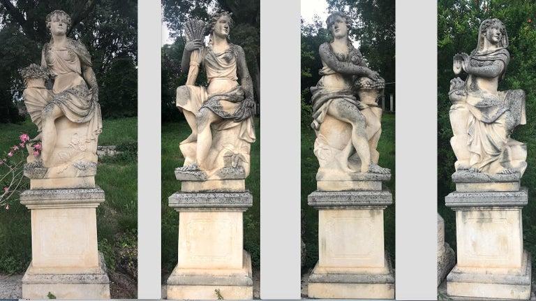 Set of Extraordinary Italian Stone Statues Representing the Four Seasons