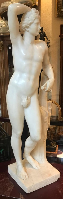 Italian 19' century Alabaster Marble Sculpture of APOLLINO