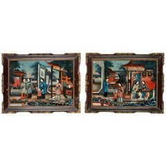 Pair of 19' century Chinese Reverse-Painted Mirror Pictures