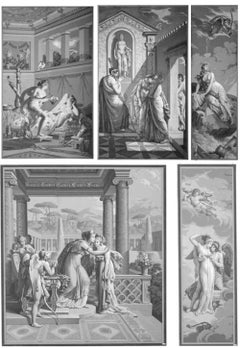 Five Wall Decoration 'En Grisaille' by Dufour, Paris, France, 19th Century