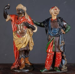 Pair of Italian 18th Century Painted Terracotta Sculptures