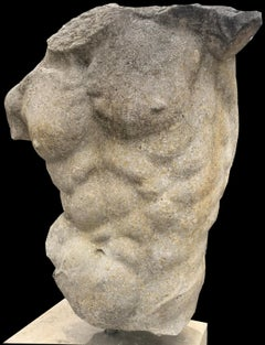 Italian Stone Sculpture of Classical Torso with Base