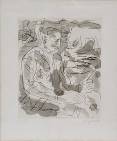 A. R. Penck, Etching, signed 12/15, Portrait of Per Kirkeby