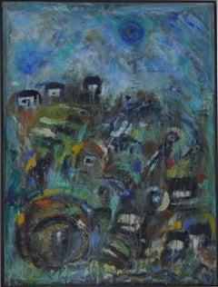 "Contemporary Danish painting ""City by the Ocean - II"" by Mette Birckner"