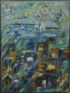 "Contemporary Danish painting ""City by the Ocean - I"" by Mette Birckner"
