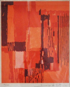 Lithography in reds and orange colours by Hugo de Soto