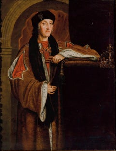 Oil Portrait King Henry VII After Holbeins Tudor Dynasty Mural Whitehall Palace