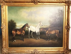 Huge Oil Painting of Horses In A Landscape Manner of George Stubbs