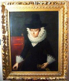 17thc Oil Portrait of Frances Graves (Nee Gourney) in Ruff Collar C1621