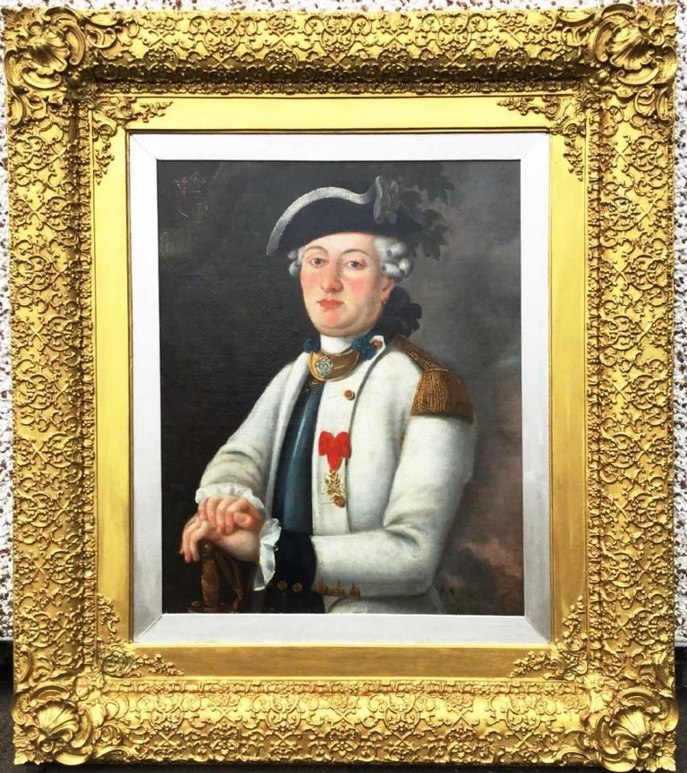 French Officer Portrait 18thc Wearing Order of St.Louis