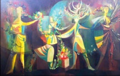 French Surrealist Oil Painting Titled The Four Seasons