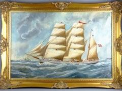 Norwegian Wooden Barque Sailing Vessel Built By B.Balchen Marine Oil Painting
