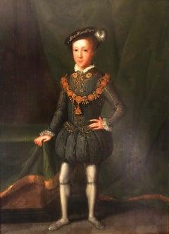 King Edward VI (1537-1553) C1670-1700 Historically Important Oil On Oak Panel
